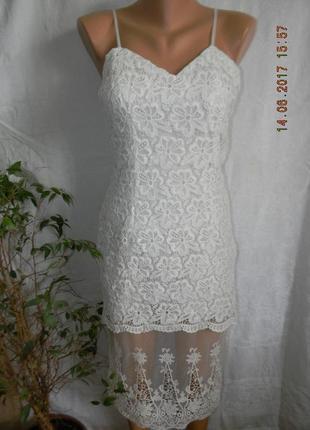 Белое платье с кружевом boohoo