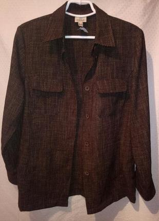 Рубашка -жакет плотная коричневая с накладными карманам женская