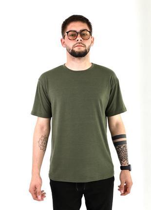 Мужская базовая футболка хаки милитари хлопковая