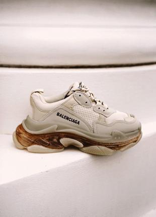 Кроссовки женские Balenciaga triple S (gold)