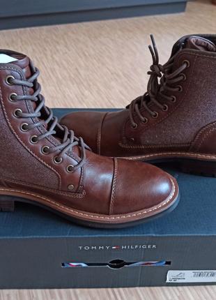 Tommy hilfiger ботинки высокие 27.5см коричневые берцы козачки