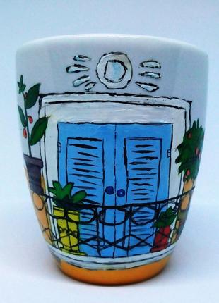 Кружка, чашка ручной работы с росписью, на подарок, чашка керамик
