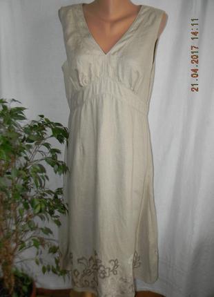 Платье лен с вышивкой cinnabar