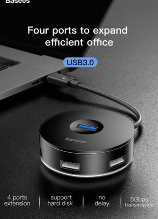 USB Type C Hub 4 порта BASEUS концентратор USB 3.0 Macbook и д...