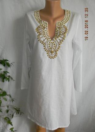 Новое натуральное белое платье с украшением