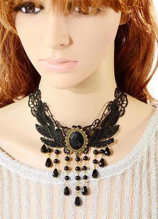 Ожерелье колье чокер чёрный большой с бусинами