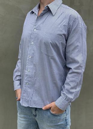 Мужская рубашка в полоску с длинным рукавом