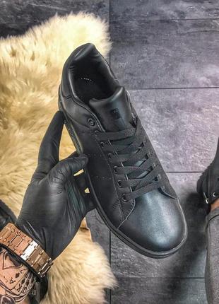 Кроссовки adidas stan smith triple black кеды черные полностью