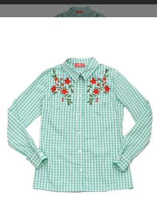 Блуза рубашка для девочки с вишивкой