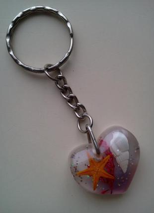 Брелок для ключей сердечко из оргстекла