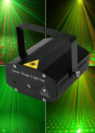 Лазерный проектор, стробоскоп, диско лазер UKC HJ08 4 в 1 c трино