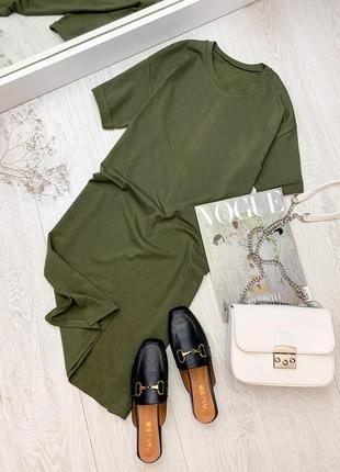 Базовое платье - футболка хаки