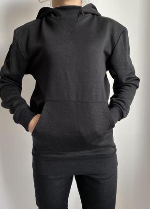 Черная кофта с капюшоном, теплая, толстовка, пуловер, свитшот,...