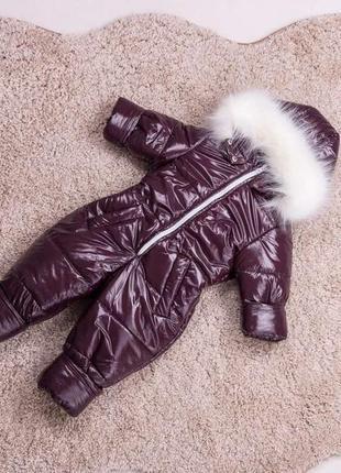 Детский зимний комбинезон бордовый