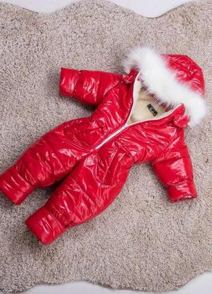 Детский зимний комбинезон красный
