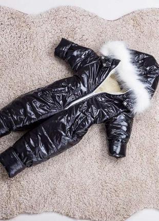 Детский зимний комбинезон черный