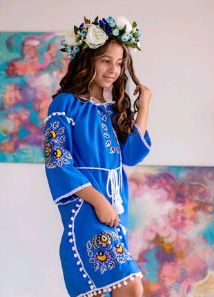 Плаття для дівчинки Оберіг блакитне