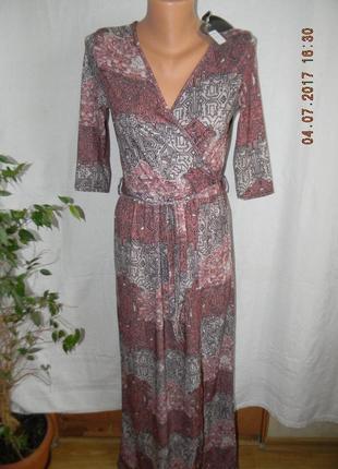 Платье новое в пол с принтом club l