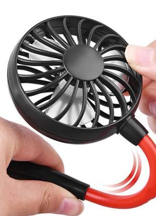 Спортивный настольный переносной вентилятор на шею с подсветкой