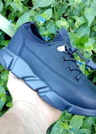 Черные кроссовки, без шнурков, черная подошва, детская обувь 3...