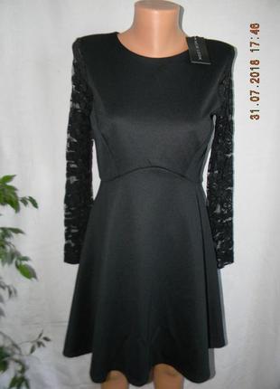 Платье черное с кружевом new look