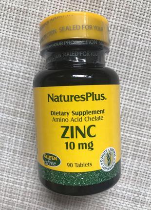 Natures Plus , Цинк , 10 mg , Zinc , 90 шт