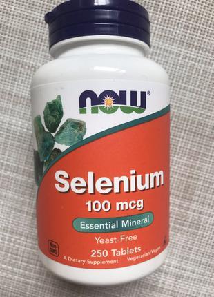 Now Foods , Селен , Selenium 100 mcg ,250 шт , Селен 100 мкг