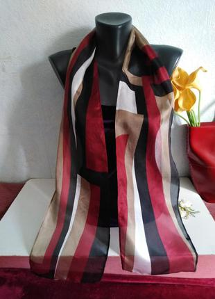 Натуральный шелк, шарфик разноцветный, 158*19