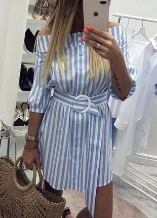 Платье в полоску с пояском голубое хлопок