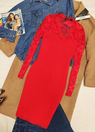 Красное алое гипюровое платье по фигуре новое карандаш футляр ...
