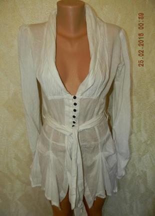 Оригинальная белая натуральная блуза