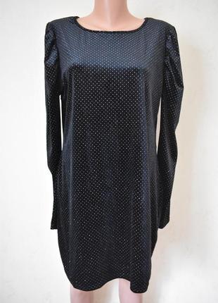 Нарядное велюровое блестящее платье большого размера