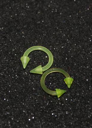 Пирсинг циркуляры из биопласта 8 мм светятся в уф