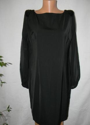 Черное нарядное платье с шифоновыми рукавами miusol