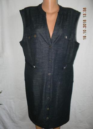 Стильное джинсовое платье-рубашка большого размера
