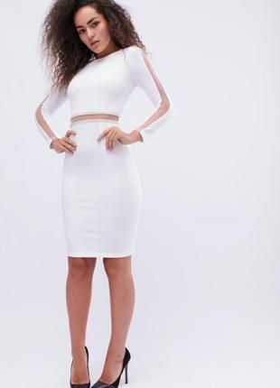 Облегающее платье длины миди с прозрачными вставками