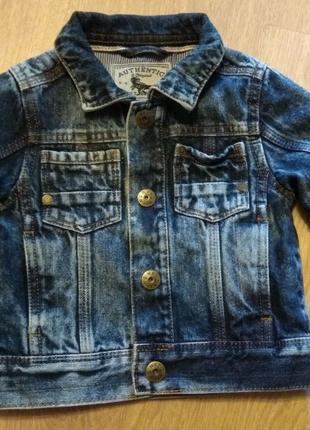 Куртка-пиджак джинсовый для мальчика, Next 9-12 мес, 80 см.