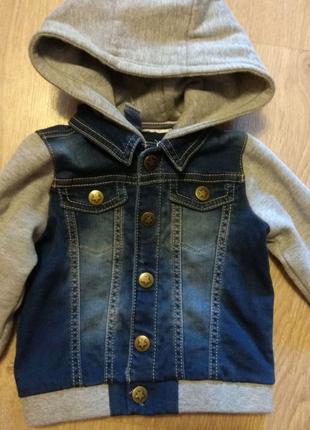 Куртка-пиджак джинсовый для мальчика, Tu 6-8 мес, 68-74 см.