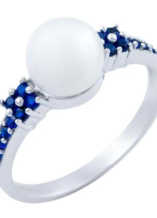 Серебряное кольцо с жемчугом, сапфиром, кришталем