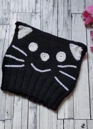 Вязаная шапка котик деми детская черная