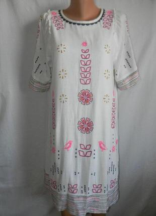 Белое платье с вышивкой лен с катоном