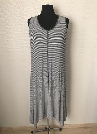Классное легкое трикотажное вискозное платье в черно-белую пол...