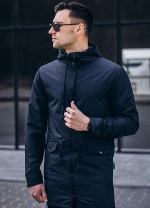 Куртка ветровка удлиненная мужская осенняя