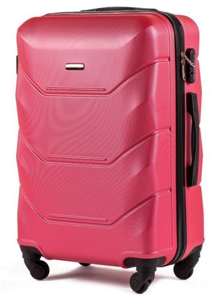 Большой пластиковый чемодан на 4 колесах wings147 , 100л rose red