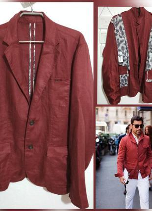 Стильный фирменный льняной мужской пиджак 100% лён супер качес...
