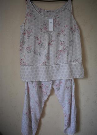 Новая батистовая пижама с принтом большого размера