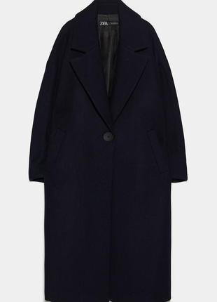 Шерстяное пальто оверсайз zara  черного цвета