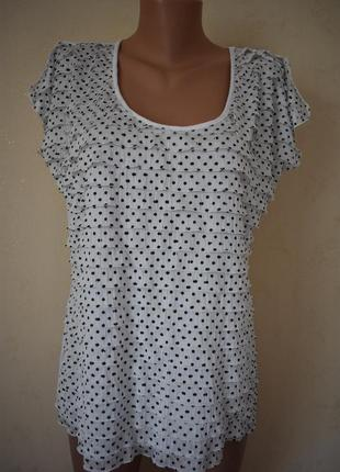Трикотажная блуза в горошек большого размера
