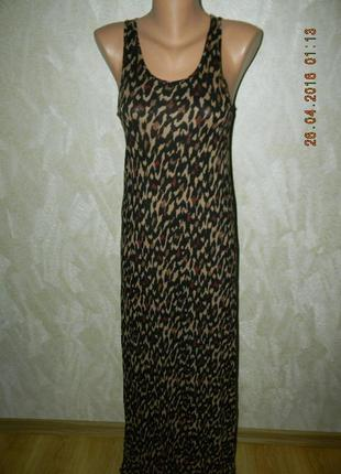 Летнее вискозное платье-сарафан в пол  с принтом