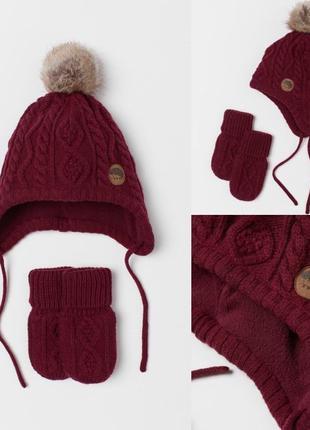 Комплект шапка варежки H&M 2-4 года 98/104 см бордовый зима/де...